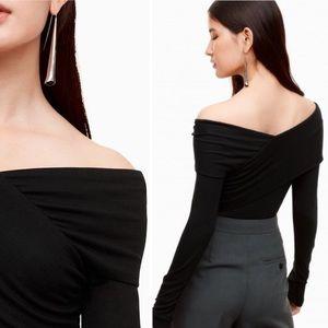 Aritzia Babaton Phil T-Shirt Off the Shoulder Wrap